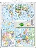 Stiefel Wandkarte Großformat Deutschland und Europa in der Welt (politisch), mit Metallstäben