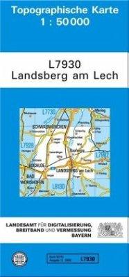 Topographische Karte Bayern Landsberg am Lech