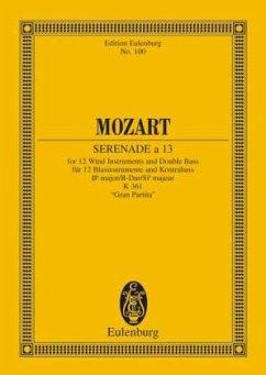 Serenade B-Dur KV 361 (Gran Partita), 12 Blasinstrumente und Kontrabass, Partitur - Mozart, Wolfgang Amadeus