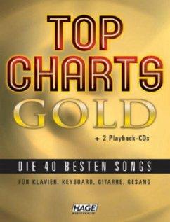Top Charts Gold für Klavier, Keyboard, Gitarre, Gesang, m. 2 Audio-CDs