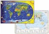 Kinderweltkarte Staaten der Erde mit Flaggenrand. DUO-Schreibunterlage