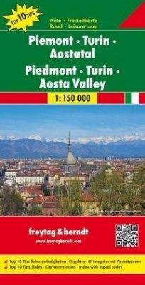 Freytag & Berndt Auto + Freizeitkarte Piemont, Turin, Aostatal; Piedmont, Turin, Aosta Valley; Piemonte, Torino, Valle d