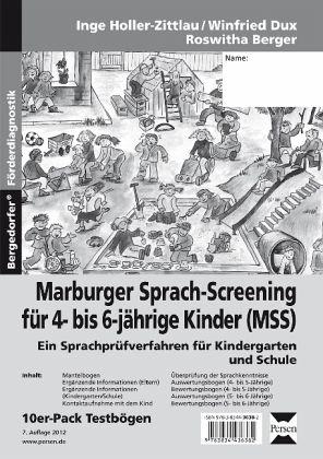 marburger sprach screening f r 4 bis 6 j hrige kinder mss testb gen von inge holler zittlau. Black Bedroom Furniture Sets. Home Design Ideas