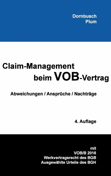 claim management beim vob vertrag von johannes dornbusch fachbuch. Black Bedroom Furniture Sets. Home Design Ideas
