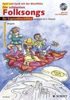 Die schönsten Folksongs für Sopranblockflöte, m. Audio-CD