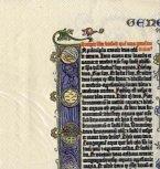Die Gutenberg Serviette, Reproduktion einer Original Gutenberg Bibelseite