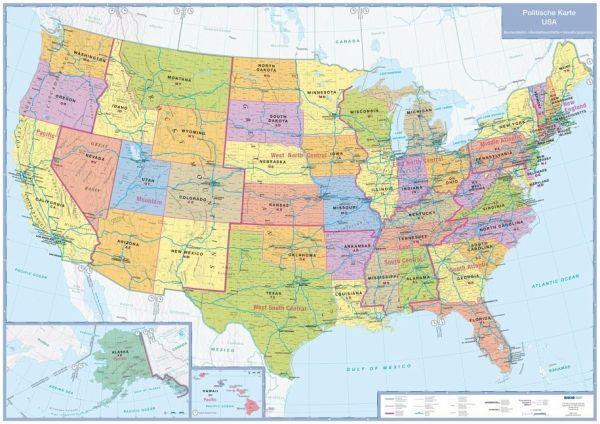 busche map politische karte usa plano landkarten portofrei bei b. Black Bedroom Furniture Sets. Home Design Ideas