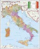 Stiefel Wandkarte Großformat Italien, Postleitzahlen, italienische Ausgabe, ohne Metallstäbe