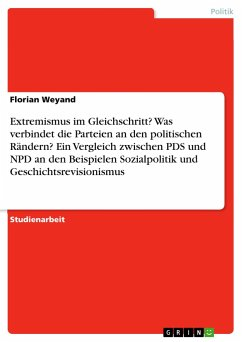 Extremismus im Gleichschritt? Was verbindet die Parteien an den politischen Rändern? Ein Vergleich zwischen PDS und NPD an den Beispielen Sozialpolitik und Geschichtsrevisionismus