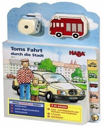 Toms Fahrt durch die Stadt (Rahmenpuzzle), m. Holzwürfel u. -figur