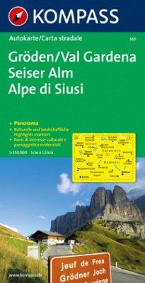 Kompass Karte Gröden, Seiser Alm; Val Gardena, Alpe di Siusi