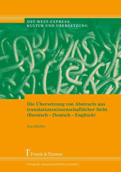 Die bersetzung von abstracts aus for Ubersetzung englisch deutsch text