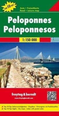 Freytag & Berndt Autokarte Peloponnes, Top 10 Tips 1:150.000; Peloponnesos. Péloponnèse. Peloponneso