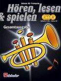 Hören, lesen & spielen, Schule für Trompete in B, Gesamtausgabe, m. 4 Audio-CDs