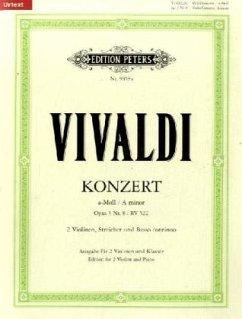 Konzert für 2 Violinen, Streicher und Basso continuo a-Moll op.3,8 RV 522, Klavierpartitur und Violinstimmen - Vivaldi, Antonio