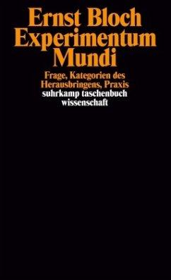 Experimentum Mundi. Frage, Kategorien des Herausbringens, Praxis - Bloch, Ernst