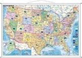 Stiefel Wandkarte Kleinformat USA, Bundesstaaten mit Postleitzahlen, englische Ausgabe, mit Metallstäben