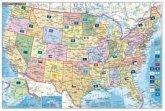 Stiefel Wandkarte Kleinformat USA, Bundesstaaten mit Postleitzahlen, englische Ausgabe, ohne Metallstäbe