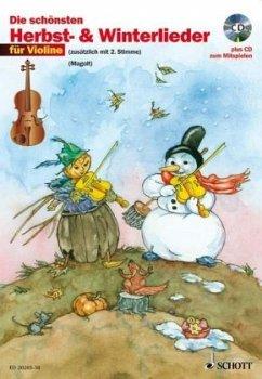 Die schönsten Herbst- und Winterlieder, für 2 Violinen, m. Audio-CD