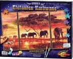 Afrika, Elefanten-Karawane / Meisterklasse Triptychon, Malen nach Zahlen (Mal-Sets)