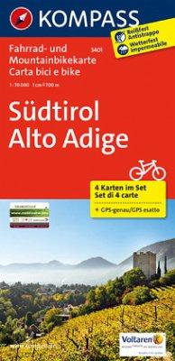 Kompass Fahrradkarte Südtirol; Alto Adige, 4 Bl. / Kompass Fahrradkarten