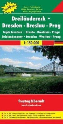 Freytag & Berndt Auto- + Freizeitkarte Dreiländereck Dresden, Breslau, Prag; Triple Frontera Dresde, Beslavia, Praga; Dr