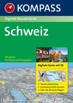 Kompass Digitale Wanderkarte Schweiz, 1 DVD-ROM