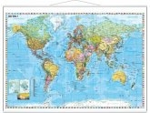 Stiefel Wandkarte Großformat Weltkarte politisch mit Flaggenrand, deutschsprachig, mit Metallstäben