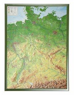 Deutschland, Reliefkarte, Groß, mit Holzrahmen;...