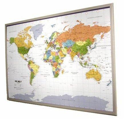 politsche weltkarte auf kork pinnwand zum aufh ngen landkarten portofrei bei b. Black Bedroom Furniture Sets. Home Design Ideas