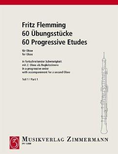 60 Übungsstücke, für Oboe mit 2. Oboe als Begleitstimme - Flemming, Fritz