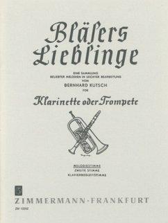 Bläsers Lieblinge, Klarinette (Trompete), Melodie-Ausgabe