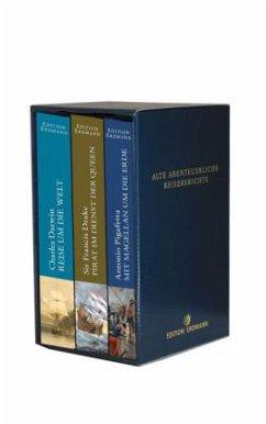 Reise um die Welt 1831-1836\Pirat im Dienst der Queen\Mit Magellan um die Erde, 3 Bände - Darwin, Charles R.; Drake, Francis, Sir; Pigafetta, Antonio