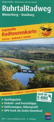 PublicPress Leporello Radtourenkarte Ruhrtal-Radweg, Winterberg - Duisburg