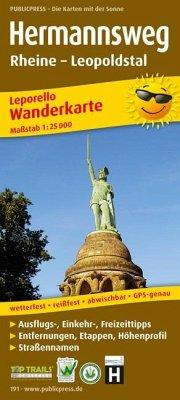 PublicPress Leporello Wanderkarte Hermannsweg, ...