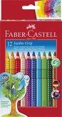Faber-Castell Buntstifte Jumbo Grip, 12er Set mit Spitzer
