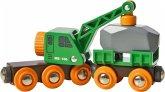 BRIO 33698 - Grüner Kranwagen mit Anhänger + Fracht