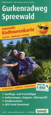 PublicPress Radwanderkarte Gurkenradweg Spreewald, 19 Teilktn.