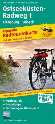 PUBLICPRESS Leporello Radtourenkarte Ostseeküst...