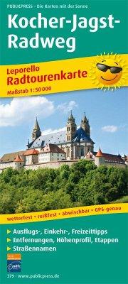 PublicPress Radwanderkarte Kocher-Jagst-Radweg, 26 Teilktn.