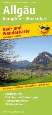 PublicPress Rad- und Wanderkarte Allgäu, Kempten - Oberstdorf