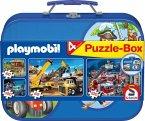 Schmidt 55599 - Playmobil: Puzzle-Box, 2 x 60/2 x 100 Teile