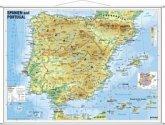 Stiefel Wandkarte Kleinformat Spanien und Portugal, physisch, mit Metallstäben