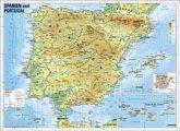 Stiefel Wandkarte Kleinformat Spanien und Portugal, physisch, ohne Metallstäbe