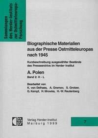 Biographische Materialien aus der Presse Ostmitteleuropas nach 1945
