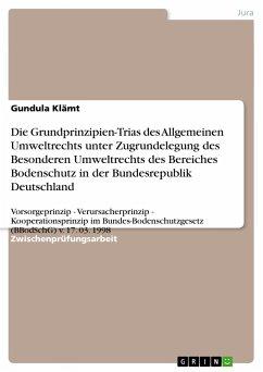 Die Grundprinzipien-Trias des Allgemeinen Umweltrechts unter Zugrundelegung des Besonderen Umweltrechts des Bereiches Bodenschutz in der Bundesrepublik Deutschland