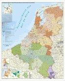 Stiefel Wandkarte Großformat Benelux-Länder, Postleitzahlen, ohne Metallstäbe. Benelux, Postcodes. Pays du Benelux, Codes Postals