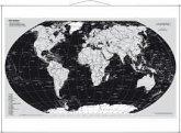 Stiefel Wandkarte Kleinformat Weltkarte, Silberedition, Englische Ausgabe, mit Metallstäben; The World