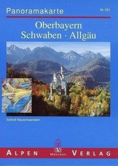 Panoramakarte Oberbayern, Schwaben, Allgäu; Panoramic View of the Bavarian Alps / Vue Panoramique des Alpes Bavaroises