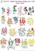 Meine tierischen Zahlen von 1-20, Deutsch/Englisch (Poster)
